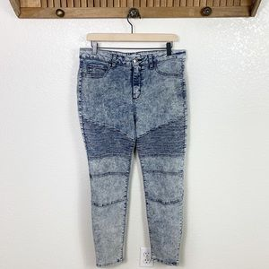 Cello Acid Wash Moto High Rise Skinny Jeans